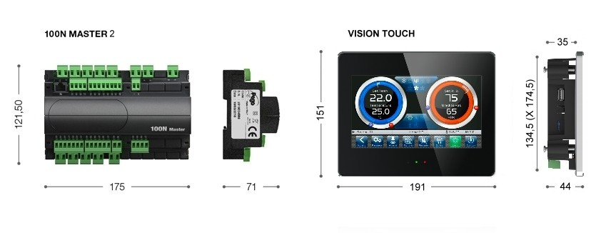 Dimensioni 100N MASTER + VISION TOUCH